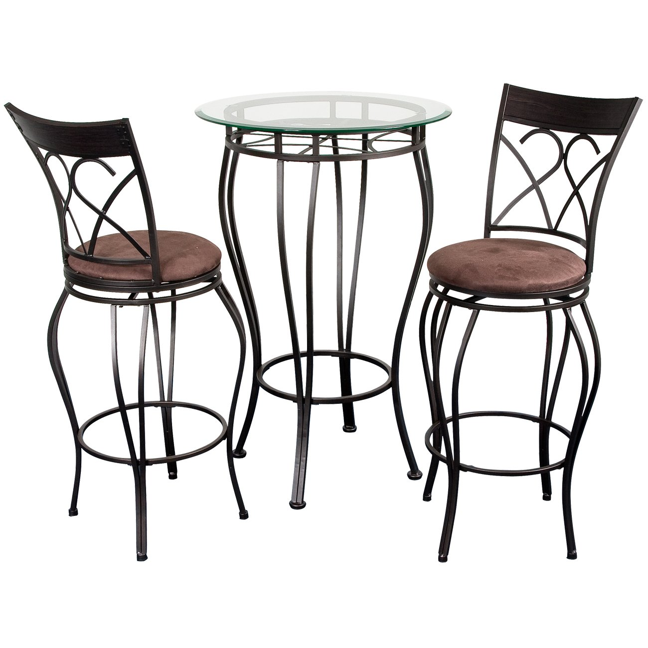 amazoncom home source industries fancy bistro decorative metal pub table with glass top and 2 stools black kitchen u0026 dining