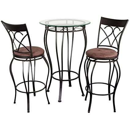 Amazon.com: Home Source Industries Fancy Bistro Decorative Metal Pub Table  With Glass Top And 2 Stools, Black: Kitchen U0026 Dining