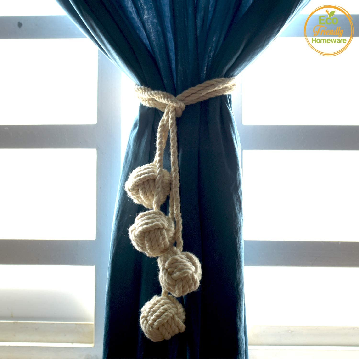 Macrame Curtain Tiebacks – Natural Cotton Drapery Holdbacks