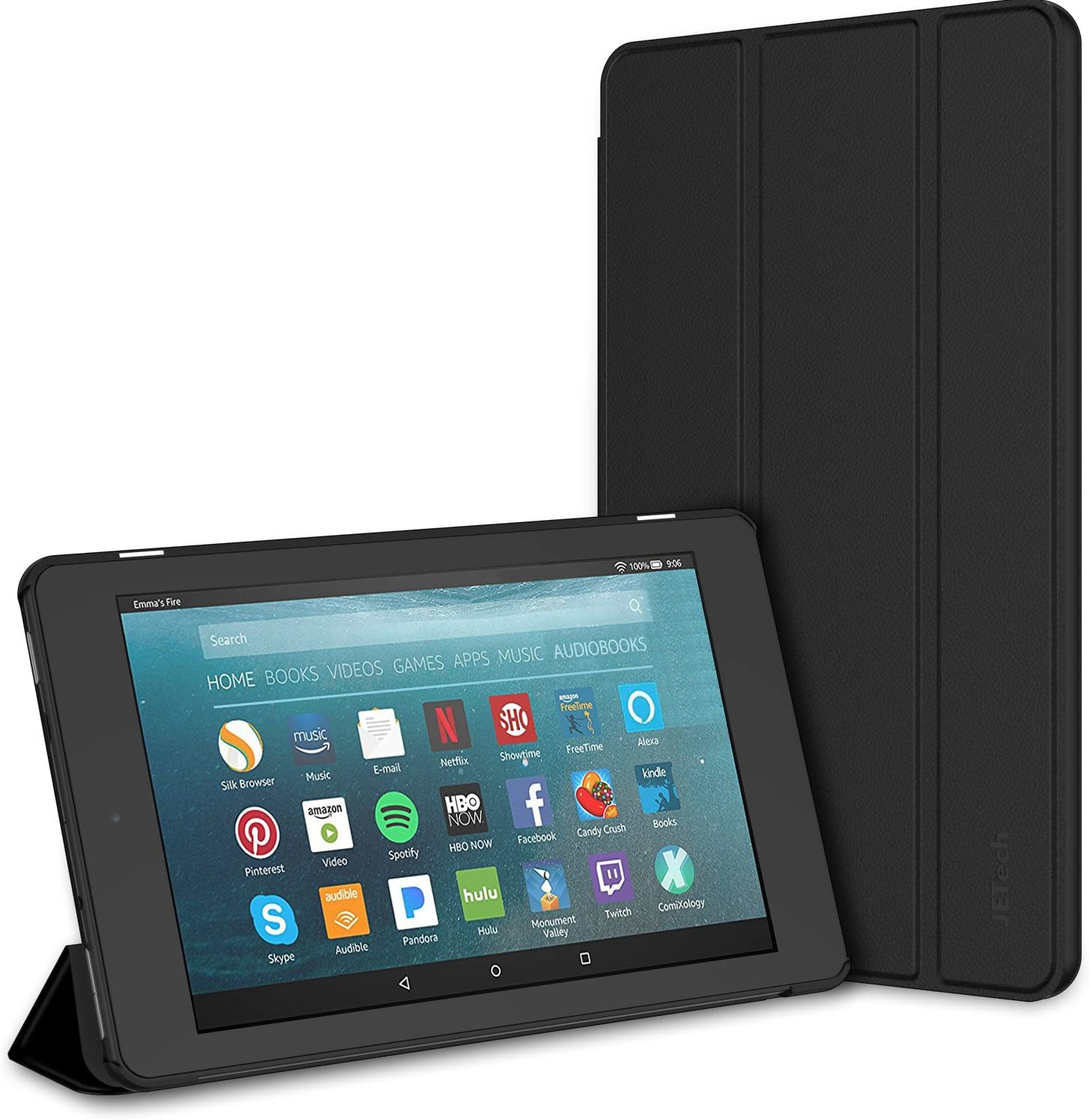Amazon Com Jetech Case For Amazon Fire 7 Tablet 7th Generation 2017 Release Only Smart Cover With Auto Sleep Wake Black Electronics