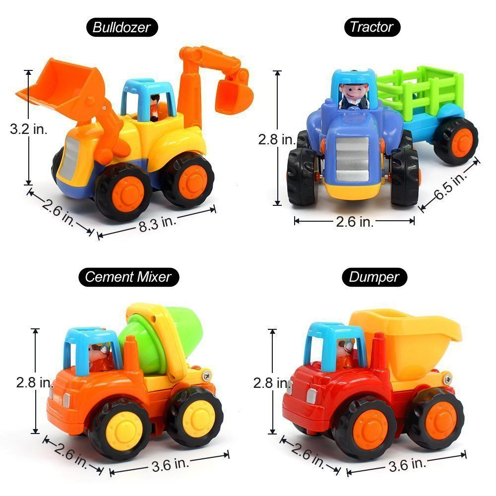 Wolson Push and Go Friction Powered Car Toys Engineering Vehicles Set Tractor Bulldozer Mixer Truck and Dumper for Baby Toddlers by Wolson (Image #6)