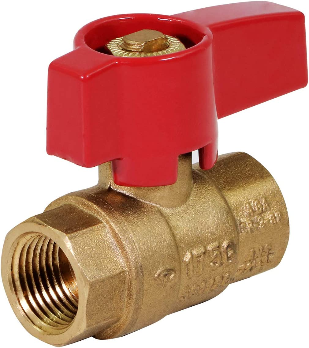 SUPPLY GIANT GUHW-34G34G Gas Ball Valve with 1/2'' FIP x 1/2'' FIP Fittings for Gas Connectors with Quarter-Turn Lever Handle, Brass Construction, Excellent Corrosion Resistance, CSA Approved