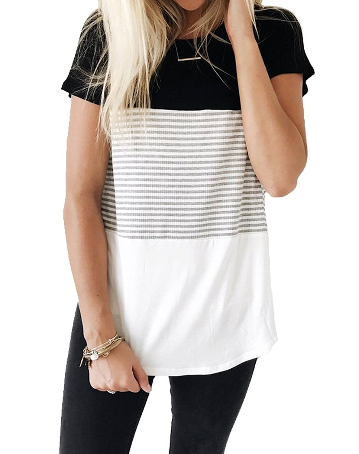 Glomeen Women's Short Sleeve Round Neck Color Block Stripe T-Shirt Tops Casual Blouse
