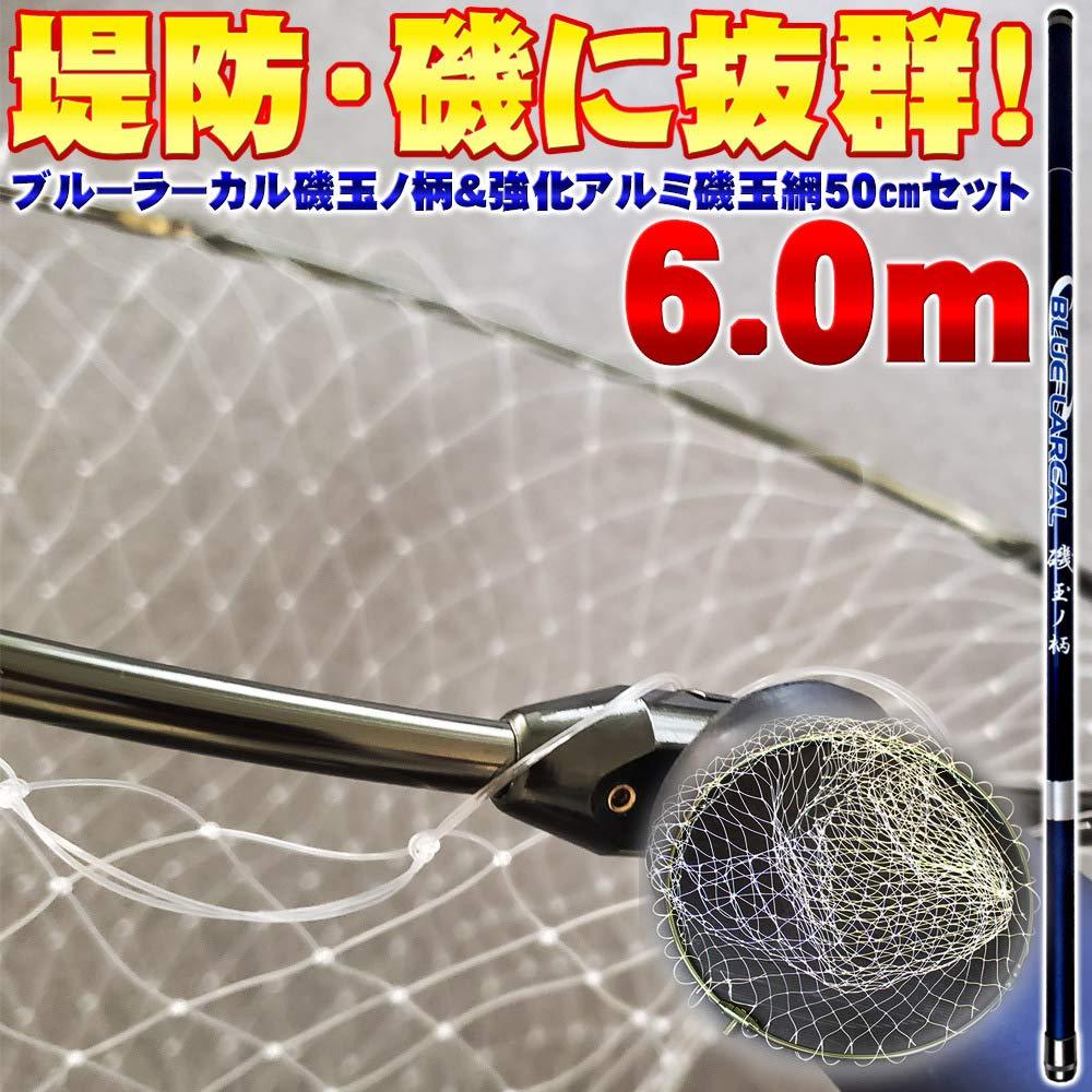 磯玉2点セット 青LARCAL 磯玉の柄600 & 網付き 50cm強化アルミ四つ折り枠 (sip-netset13-iso)
