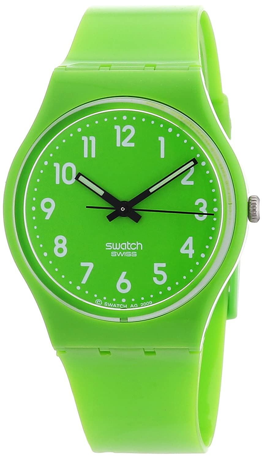Amazon.com: Swatch Womens GG204 Quartz Lime Green Casual Plastic Watch: Swatch: Watches