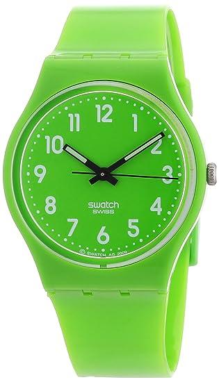 Swatch LEMONGRASS GG204 - Reloj unisex de cuarzo, correa de caucho color verde: Swatch: Amazon.es: Relojes