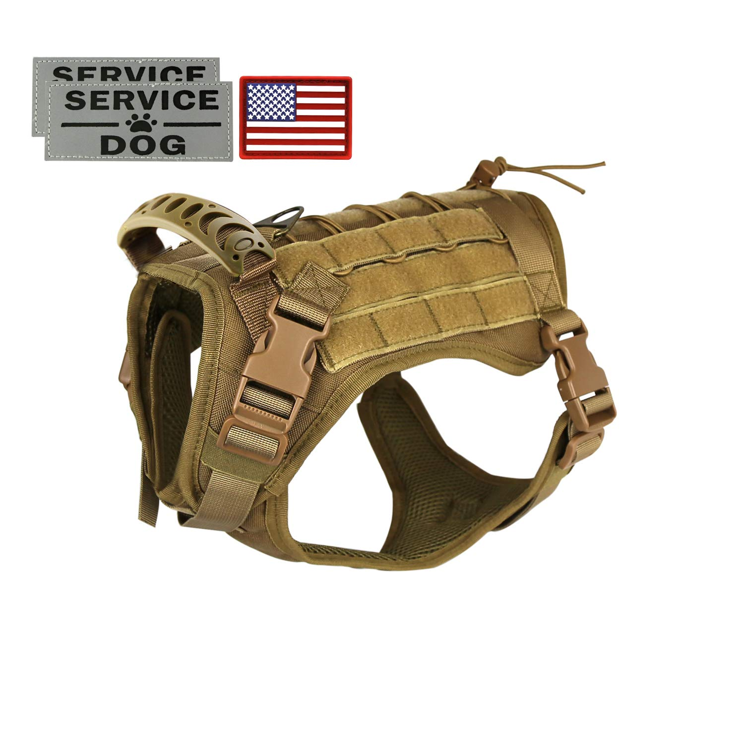 Tactical Service Dog Vest Harness Outdoor Training Handle Water-Resistant Comfortable Military Patrol K9 Dog Harness with Handle by Hanshengday