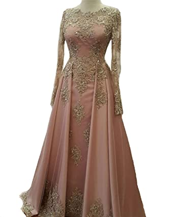 FIGHOUOR 2018 Beaded Gold Pink Prom Dresses with Lace Long Sleeves Muslim Evening Gowns