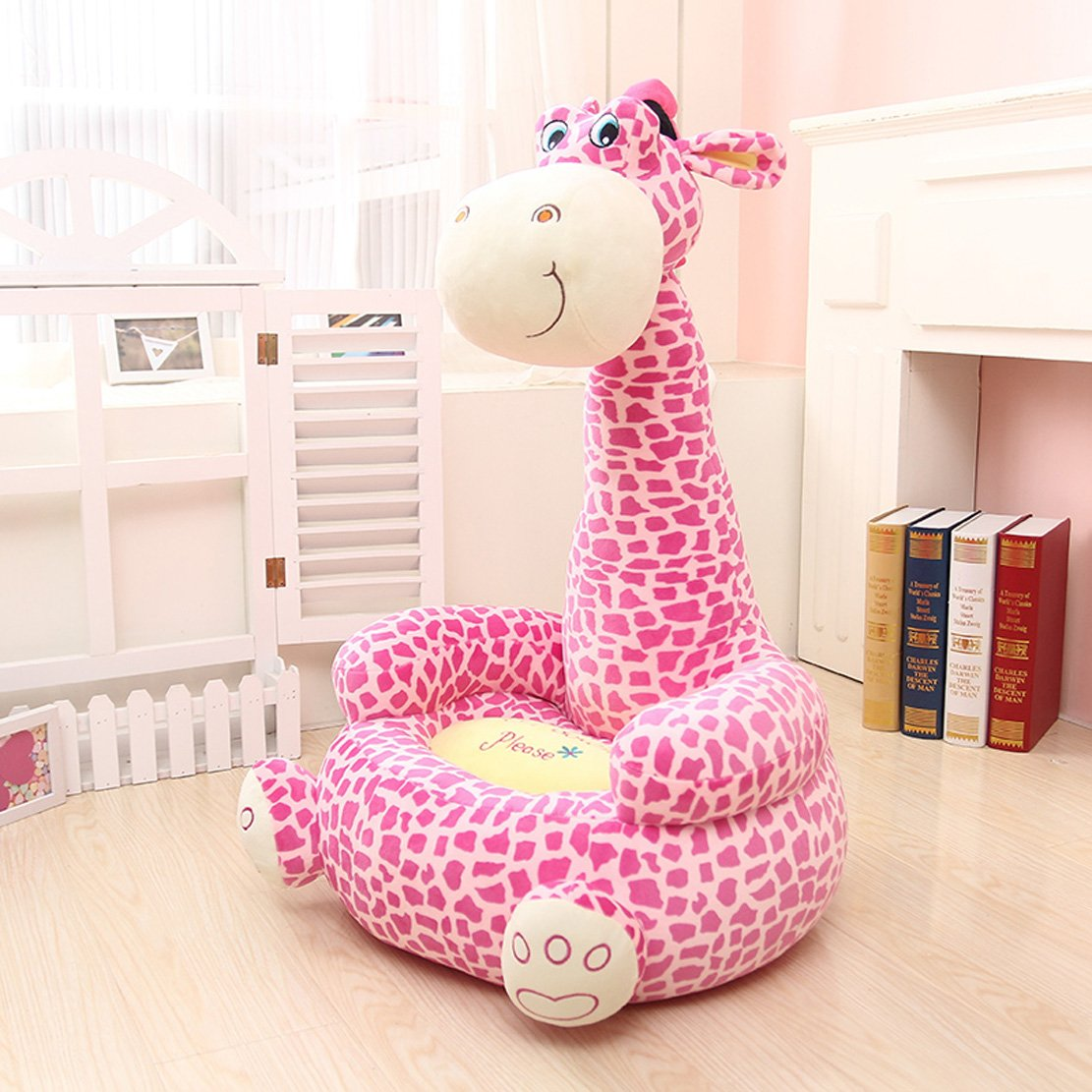 MAXYOYO Super Cute Plush Toy Bean Bag Chair Seat for Children,Cute Animal Plush Soft Sofa Seat,Cartoon Tatami Chairs,Birthday Gifts for Boys and Girls (pink giraffe)