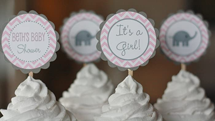 Amazon Com 12 Elephant Baby Shower Cupcake Toppers Pink Grey