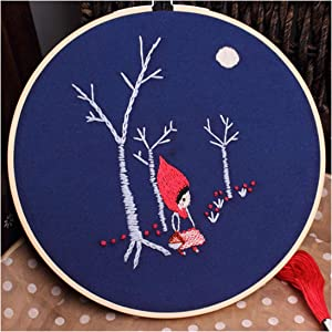 Handmade Embroidery DIY Kit for Beginner Flower with Frame Handcraft Needlework Cross Stitch Swing Painting Wall Art Decor Gift,E,20Cm Bamboo Hoop Kit