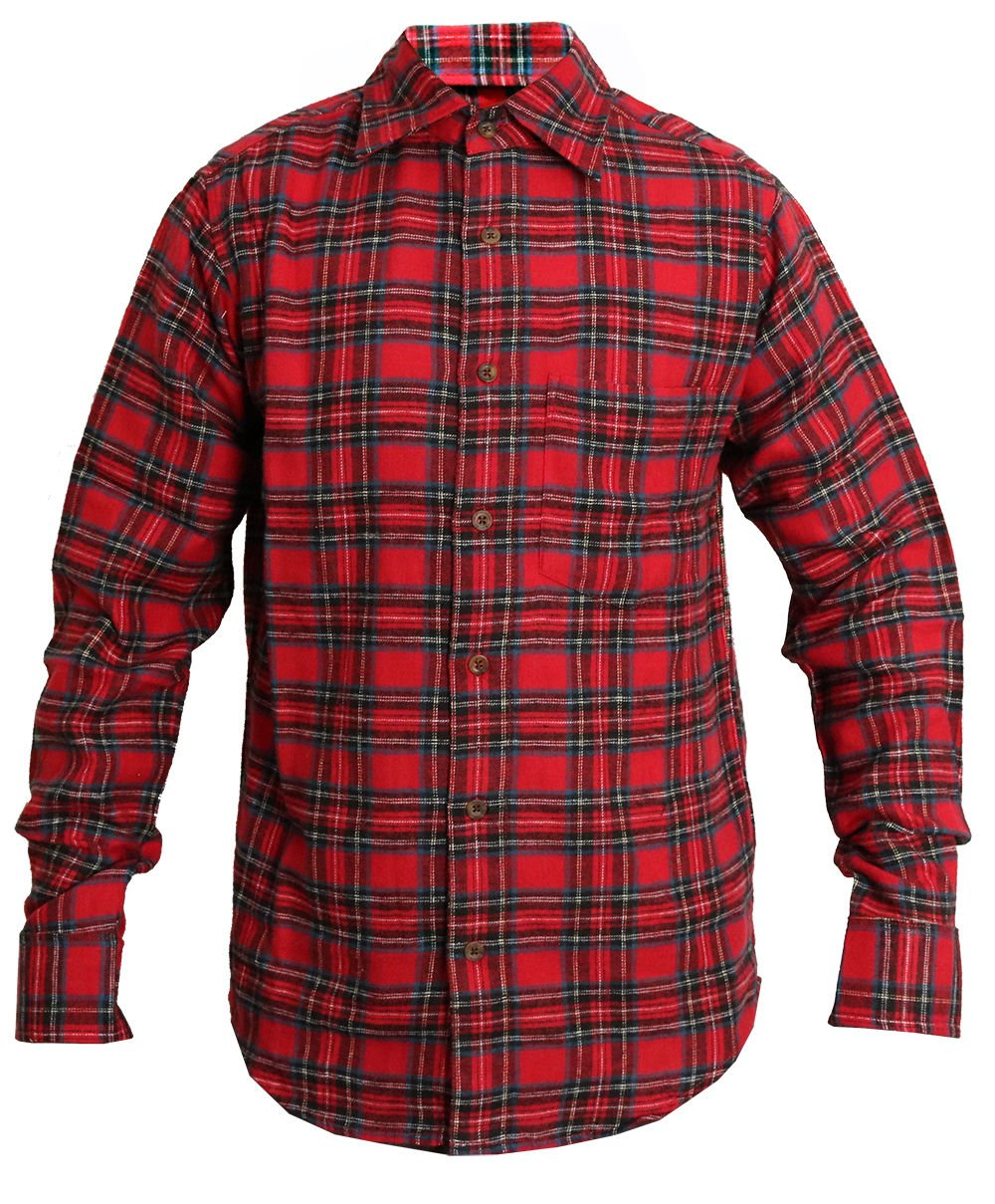 Classics Mens Check Shirt Brushed Cotton Boys Casual Shirts Plaid Flannel:  Amazon.co.uk: Clothing