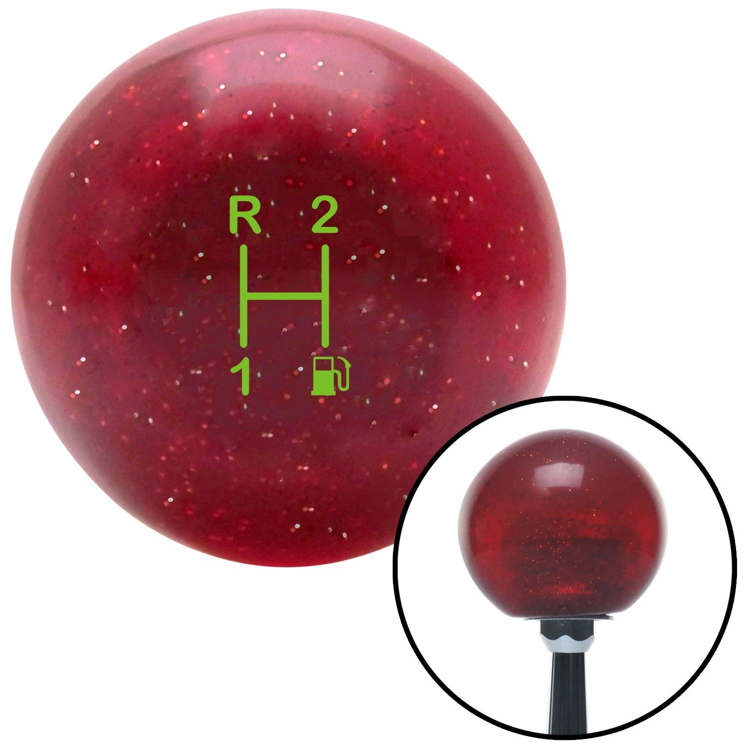 American Shifter 282794 Shift Knob Green 3 Speed Shift Pattern - Gas 11 Red Metal Flake with M16 x 1.5 Insert