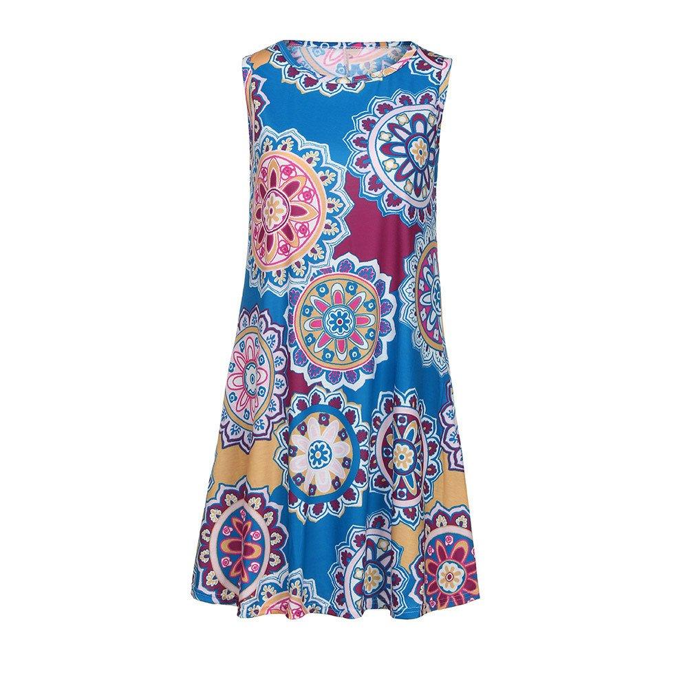 Vamoro Womens Summer Vintage Boho Maxi Evening Party Beach Floral Dress Women O Neck Boho Floral Mini Dress Summer Short Sleeve Beach Dress