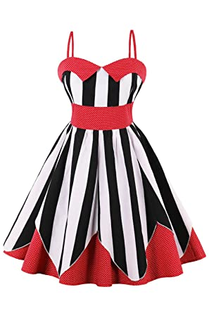 Babyonlinedress Womens A-Line Stripe Patchwork Sweetheart Backless Homecoming Dress,Size S