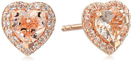 Rose Gold-plated Silver Morganite Heart Halo Earrings