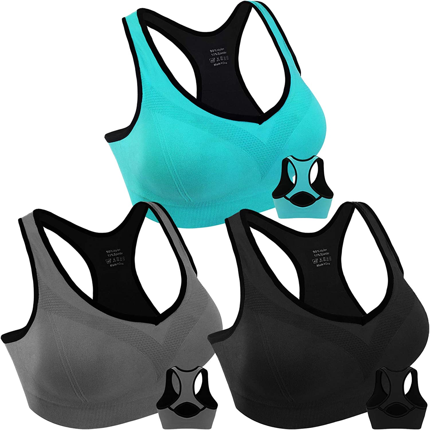 Women Racerback Sports Bras High Impact Workout Yoga Gym Fitness Bra
