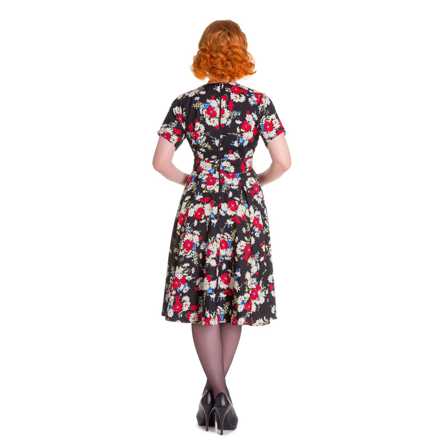 Hell Bunny Heather Black Floral 1940s Wartime WW2 Retro Vintage Victory Dress10 S: Amazon.co.uk: Clothing
