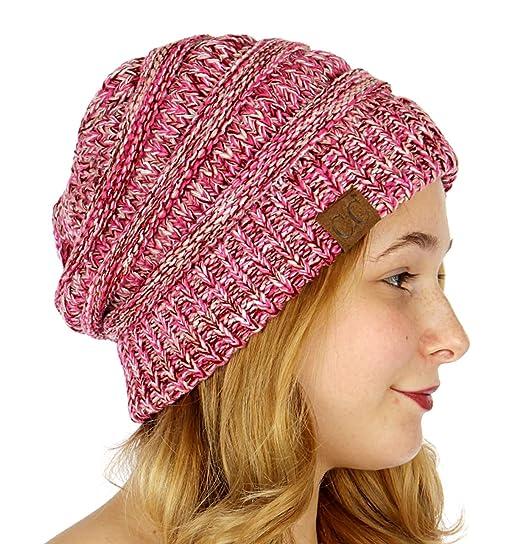 dee5690c3ea Unisex 4 Tone Multicolor Warm Cable Knit Thick Beanie Hat Hot  Pink Burgundy Pale