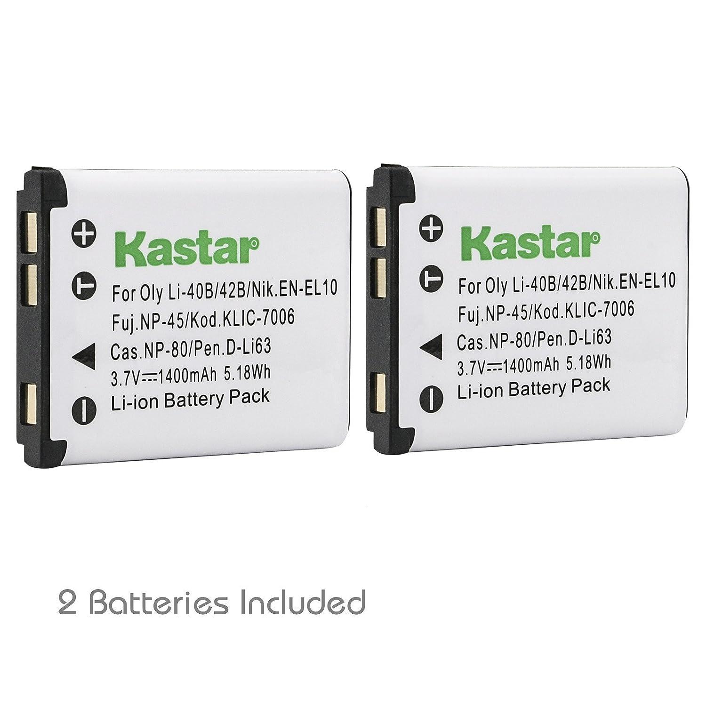 Kastarバッテリーと充電器キットfor Sanyo Xacti vpc-e1403、vpc-e1500、vpc-e1500tp、vpc-e1600、vpc-e1600tp、vpc-t700、vpc-t850、vpc-t1060、vpc-t1284、vpc-t1495、vpc-t1496、vpc-tp1000カメラ B075H81PT3  2 batteries