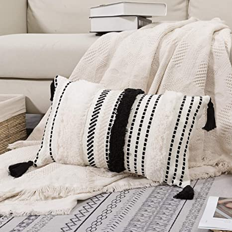 Blue Page Morocco Tufted Boho Throw Pillow Covers 12x20 Inch Lumbar Small Decorative Pillows Cover For Couch Sofa Bedroom Living Room Rectangle Accent Pillow Case Only Black Off White Home
