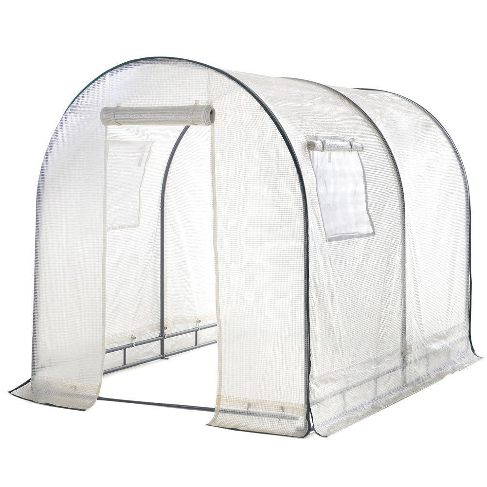 Abba Patio Walk in 8'L x 6'W x 6.6'H Greenhouse Fully Enclosed with Windows, White by Abba Patio