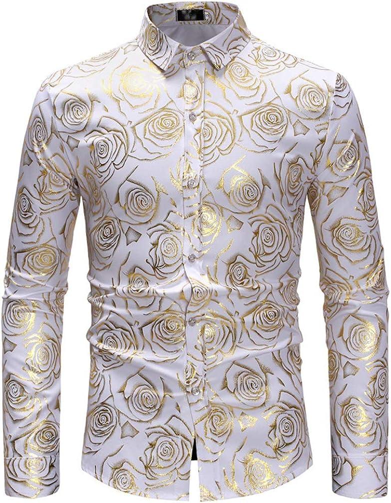 Huixin Camisas Hombres Casual Dorado Rosa Estampadas Blusas Superiores Slim Fit Moda Blusa Fiesta De Noche Classic Camisa: Amazon.es: Ropa y accesorios