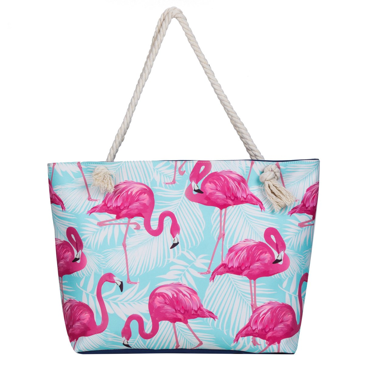 MISS FANTASY Beach Bag Large Waterproof Flamingo Pineapple Summer Tote with Waterproof case (Flamingo 1)