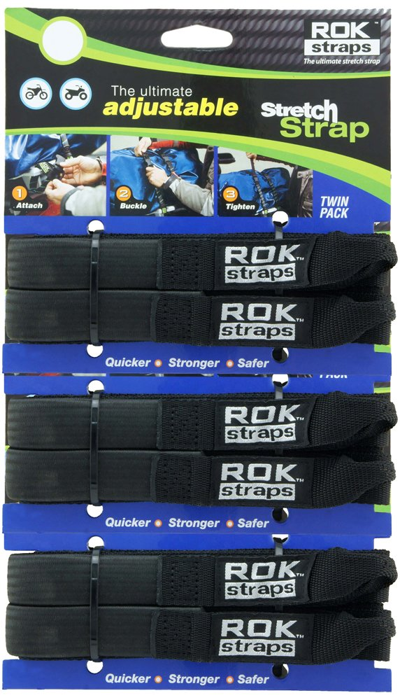 ROK Straps ROK-10314-3PR Black 12''- 42'' Adjustable Stretch Strap, 3 Pair
