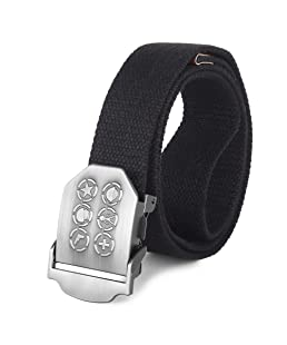 ZORO Men's cotton Belt |canvas belt| stylish buckle | belt for jeans cargo jogger| non leather fabric belt black
