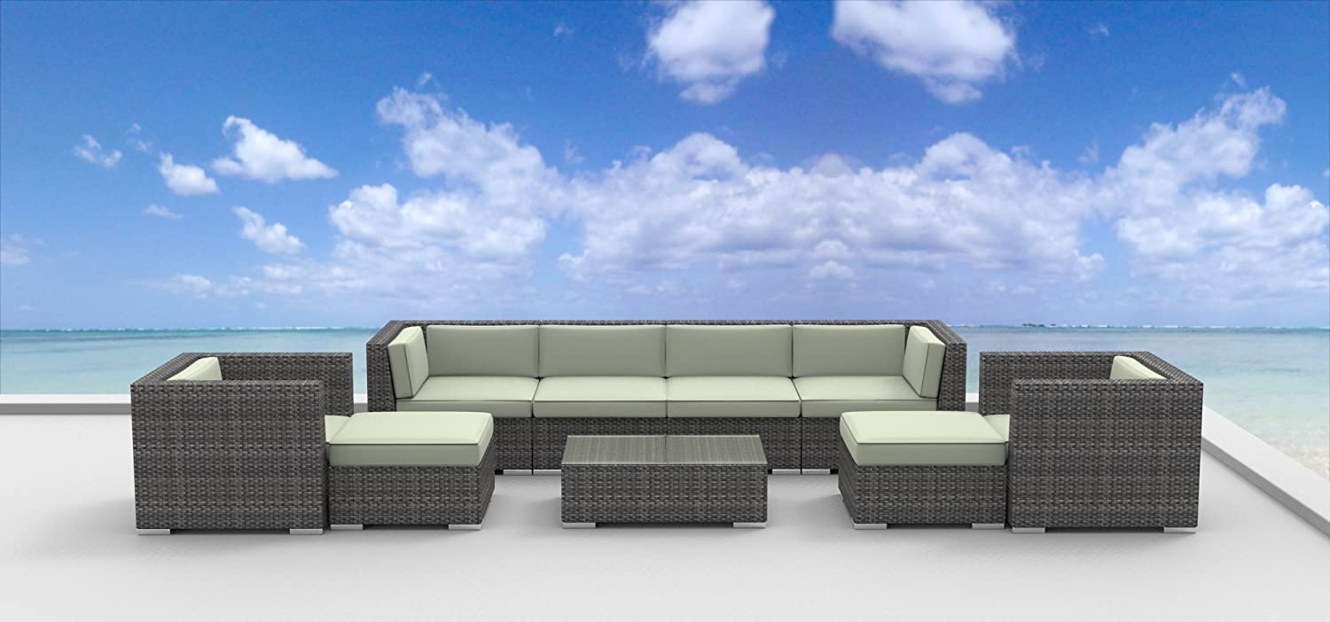 Amazon com urbanfurnishing net 9a fiji beige 9 piece modern patio furniture sofa sectional couch set outdoor and patio furniture sets garden outdoor