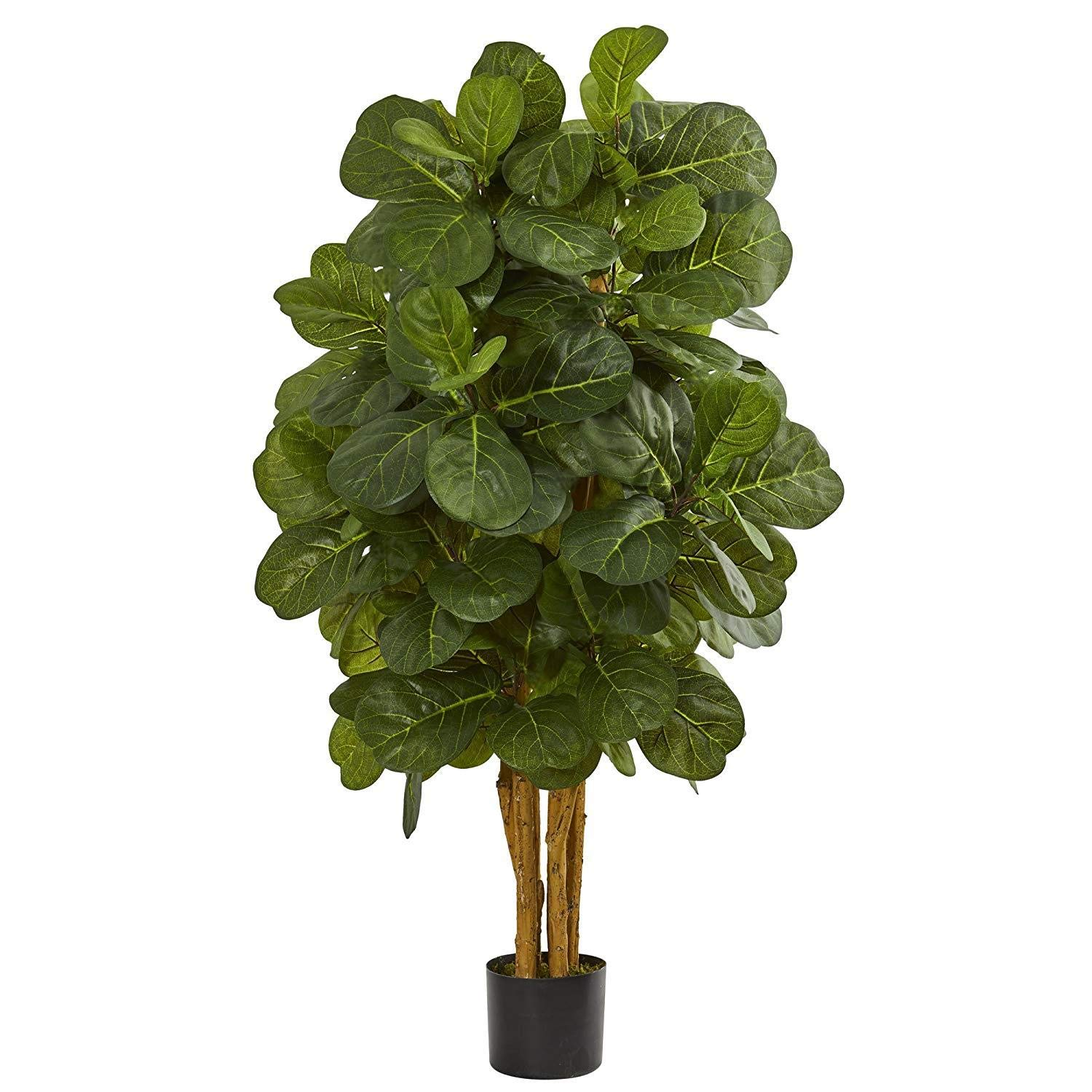 Nearly Natural 4' Fiddle Leaf Fig Artificial Tree 4, Green