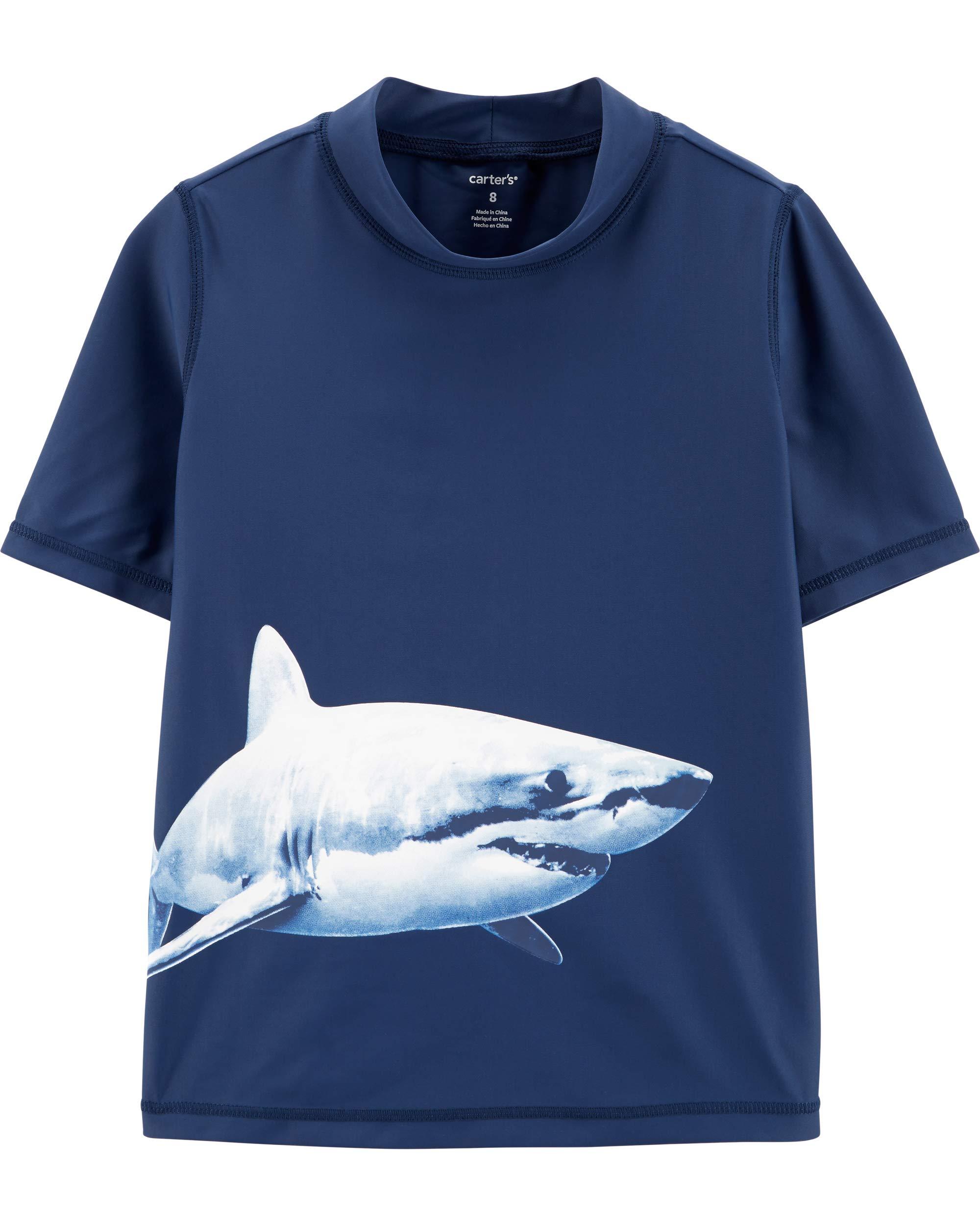 Carter's Little Boys' Rashguard, Blue Sharks, 6