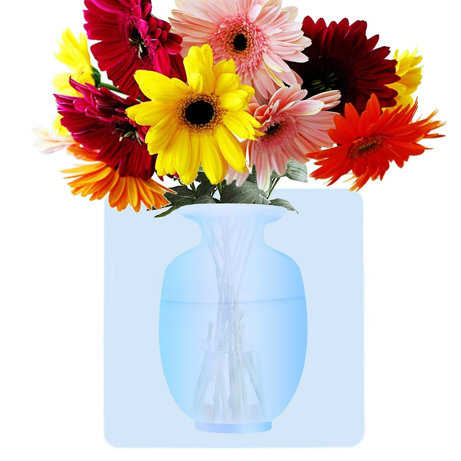Cirsum Elastic Antigravity Sticky Vase Stick On The Wall Refrigirator Numasanltd Bathrooms Flower Container For Home And Offices Reusable Flower Pot