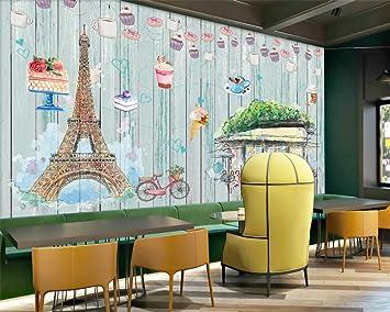 Cafe Wallpaper Tienda de postres Panadería Mural Custom 3D Sweet ...