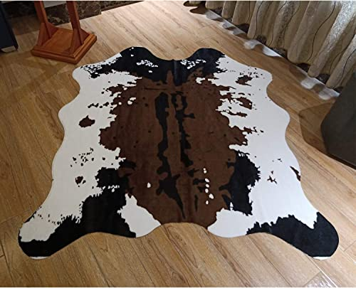 JACCAWS Cowhide Rug 4.6×5.2 Feet Faux Fur Cow Print Area Rug Carpet Mat