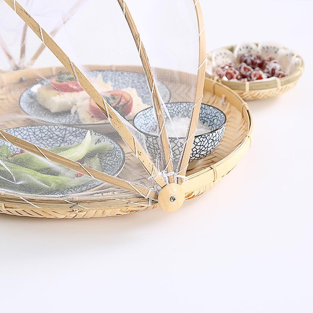 Eillybird Runder Bambusfliegen-Fliegenmoskito-staubdichter Speicherkorb-trocknender Korbnetzabdeckungs-Tellerkorb-Speicherkorbfruchtgem/üsebeh/älter trocknen Bambusk/äfig-Picknickkorb
