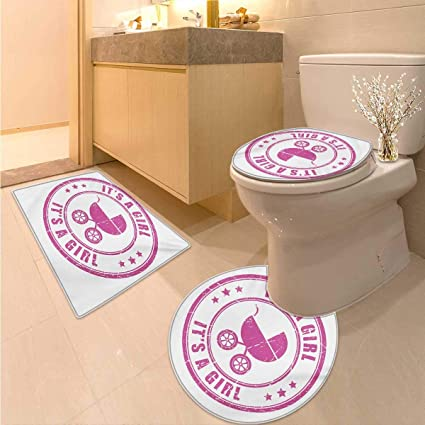 Amazon.com: Anhuthree Gender Reveal Bath mat and Toilet mat Set ...