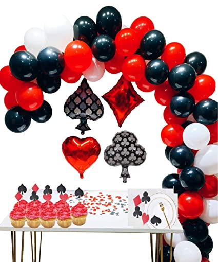 Casino Party Decoration Supplies Set Casino Balloons,Black, Red,White  Latex Balloon with Casino Confetti for Casino Theme Party,Las Vegas Themed