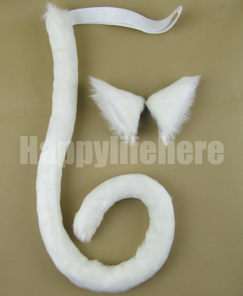 Happylifehere Long Fur Cat Ears and Cat Tail Set Halloween Party Kitty Cosplay Costume Kits (White)