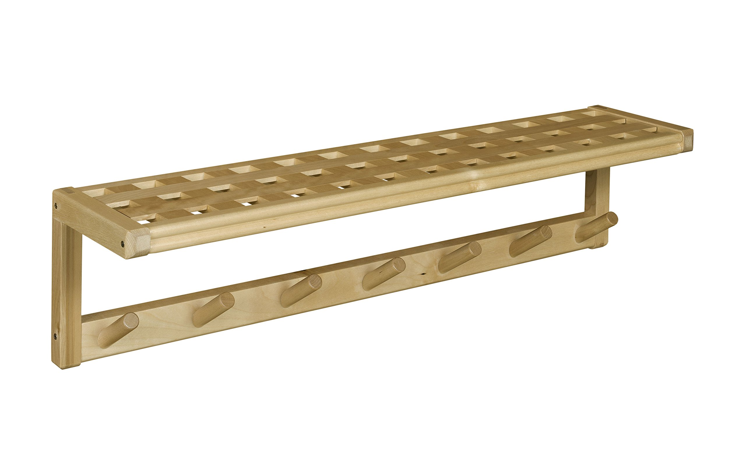 New Ridge Home Goods Beaumont Solid Birch Wood Large Peg Rack with Shelf, Blonde