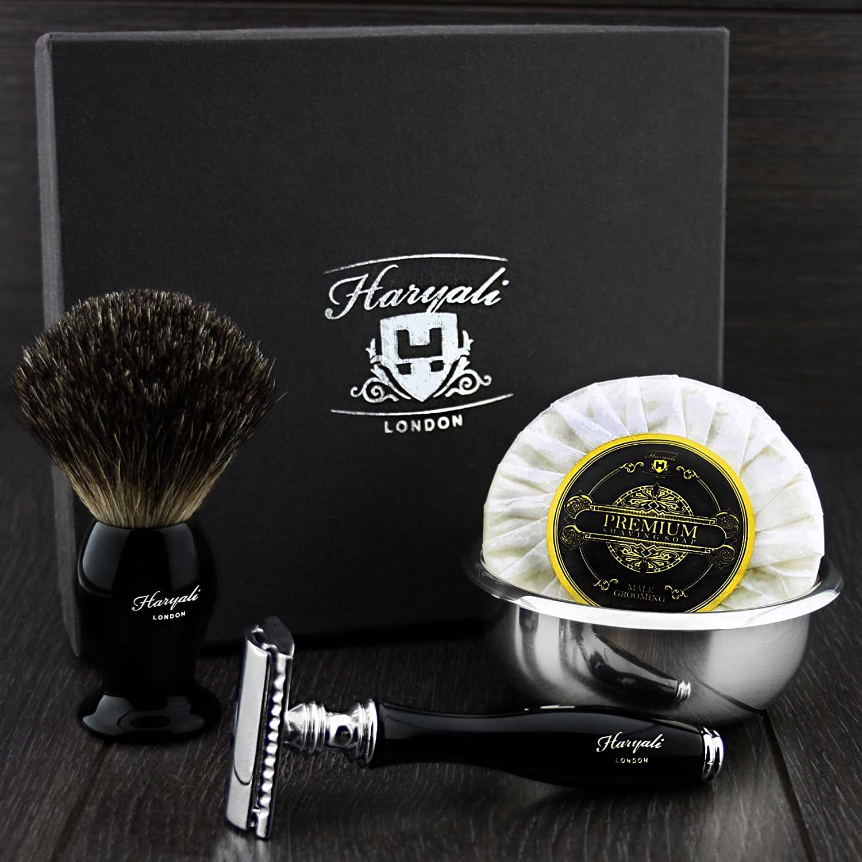 DOUBLE EDGE SAFETY RAZOR SHAVING SET Badger Hair Shaving Brush 4 MEN GIFT SET double edge razor kit ( NO BLADES INCLUDED ) Haryali London