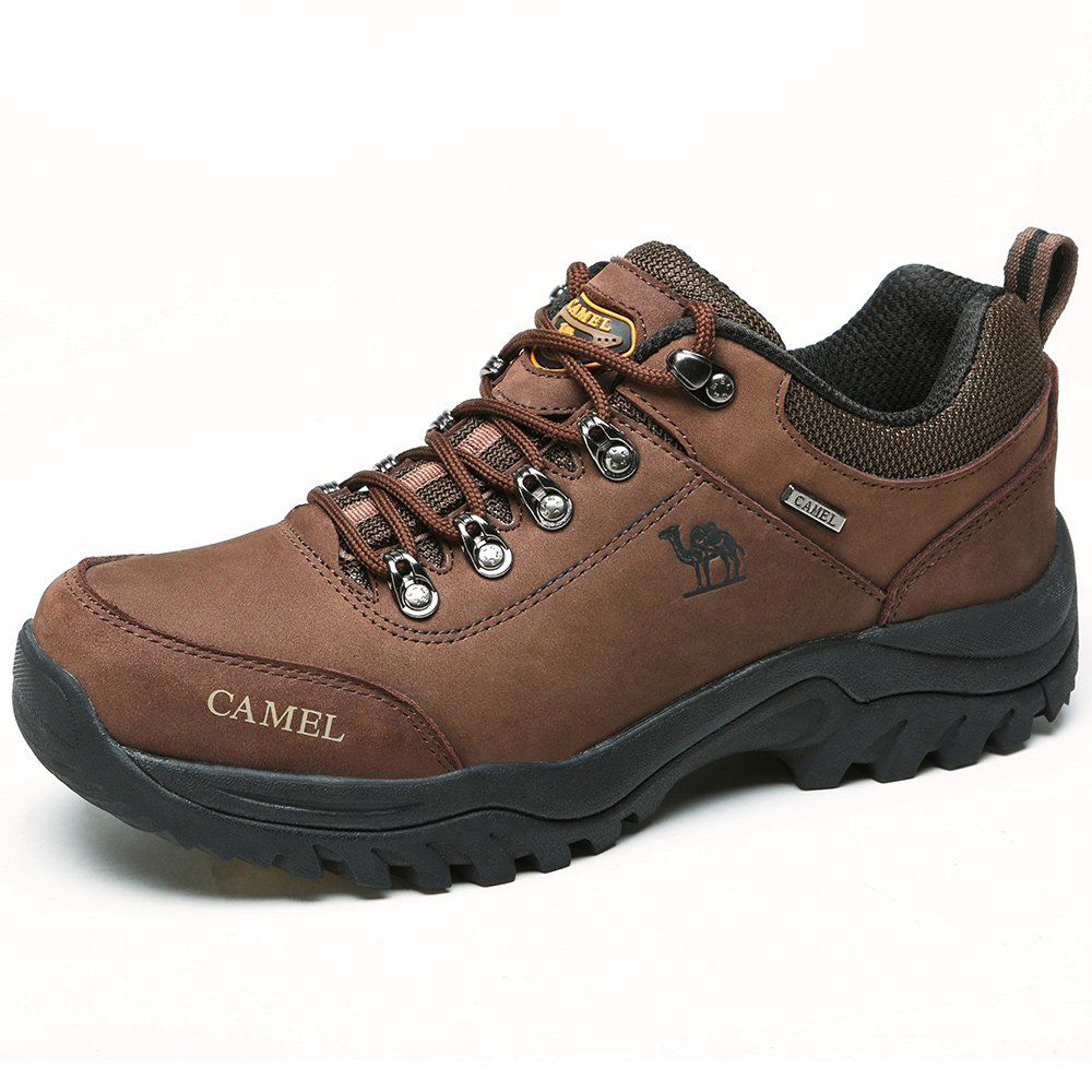 CAMEL Men's Hiking Shoes Leather Non Slip Walking Sneakers for Outdoor Casual Trekking Coffee 8.5 US-265mm-10.43inch