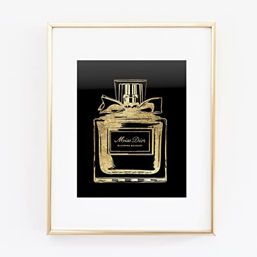 1679aeb3 Amazon.com: Miss Dior Perfume Bottle Gold Foil Wall Art Print Color ...