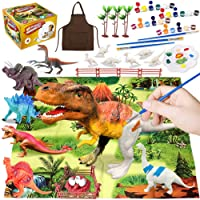 44Pcs Dinosaur Painting Kit for Kids Dinosaur Toys, Paint Your Own Dinosaur Animal Crafts and Art Party Supplies Birthday DIY Dino Figurines Creative Activity Toys for 4 5 6 7 8 Years Old Boys Girls