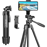 Mactrem 53 Inch Tripod for iPhone, Lightweight Aluminum Travel Cell Phone/Ipad/Camera Tripod Stand with Carry Bag…