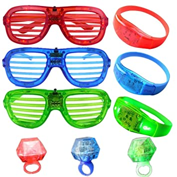 5b94a8fa0ae2 Atcket 9 Pieces per Set Red Blue Green Assorted Colors LED Shutter Glasses,  3 modes