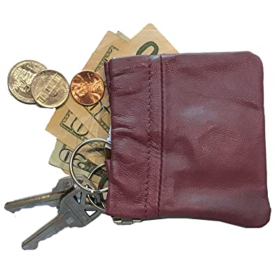 SILVERFEVER Leather Coin Purse  Squeeze Spring Closure Pouch w Key Ring Chain