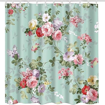 Aqua Rose Flower Shower Curtain 72x72 InchVintage Elegant Floral With Leaves Spring Blossom