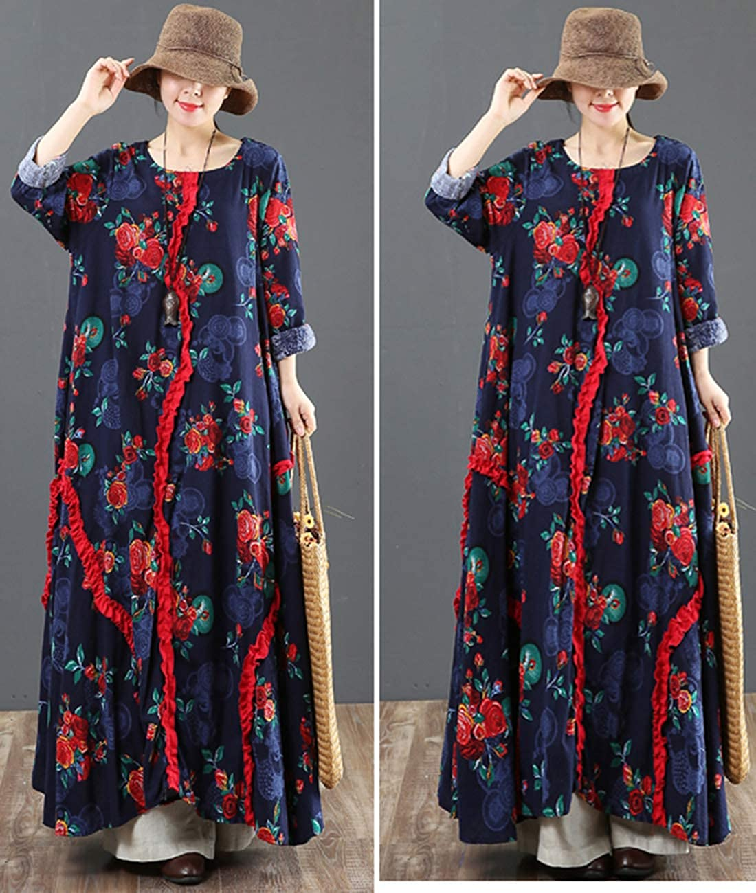 YESNO Women Long Maxi Baggy Dress Casual Plus Size Lagenlook Pop Art Oil Painting//Pocket F01CA
